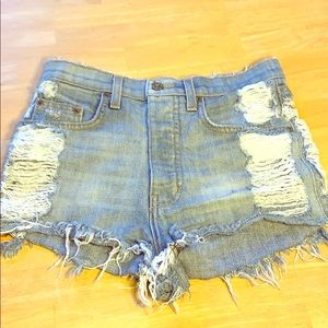 Carmar Distressed ButtonFly High Rise Denim Shorts